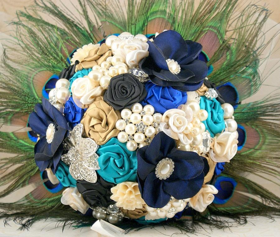 Brooch Bouquet Pea Black Navy Blue Royal Turquoise Beige Wedding Jeweled Feathers Lace Crystals Pearls Elegant