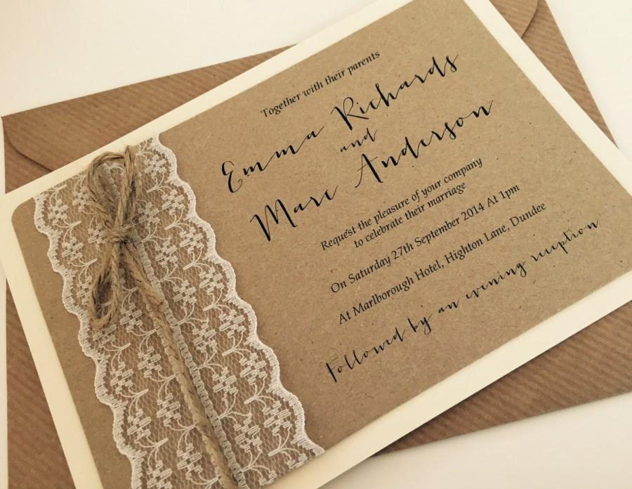 1 Vintage/Rustic/Shabby Chic \'Emma\' Lace Wedding Invitation And RSVP ...