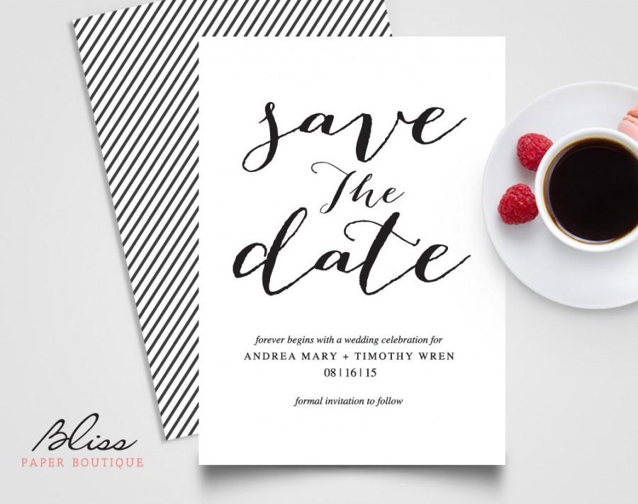 Black And White Custom Printable Save The Date Wedding Invitation Card Template
