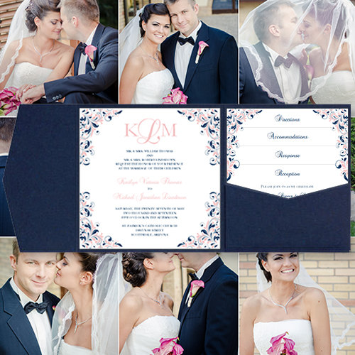 "زفاف - Pocket Fold Wedding Invitations ""Kaitlyn"" Blush Pink & Navy Blue Printable Templates Instant Download Order Any 1 or 2 Colors DIY You Print"
