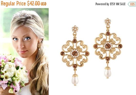 25% SALE Gold Wedding Earrings, Gold Earrings, Wedding ...