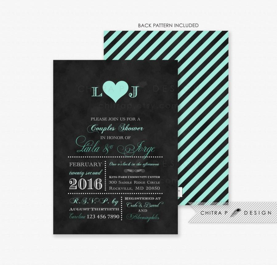 S Shower Invitations Printed Black Mint Green Monogram Wedding Bridal Typography Engagement Chalkboard Heart Striped Winter 031