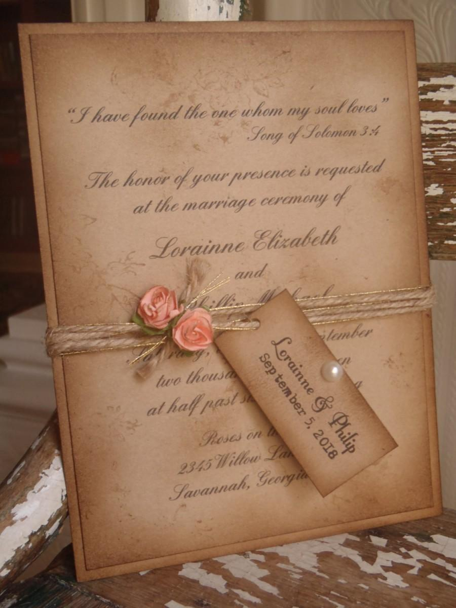 coral rustic vintage woodland kraft wedding invitation shabby romantic sixteen quinceanera bat mitzvah cowgirl peach blush pink - Rustic Vintage Wedding Invitations