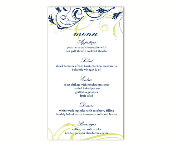 Wedding Menu Template DIY Menu Card Template Editable Text Word File Instant Download Navy Blue ...