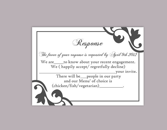 Diy wedding rsvp template editable text word file instant for Rsvp cards for weddings templates