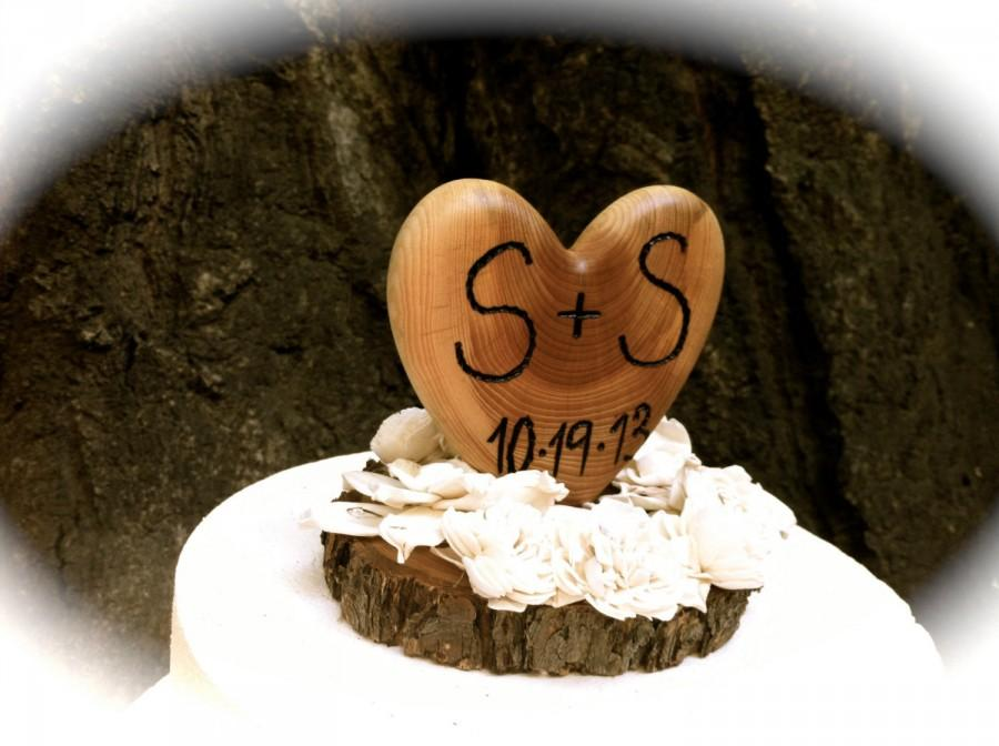 Mariage - Rustic wedding cake topper wooden heart winter fall country weddings