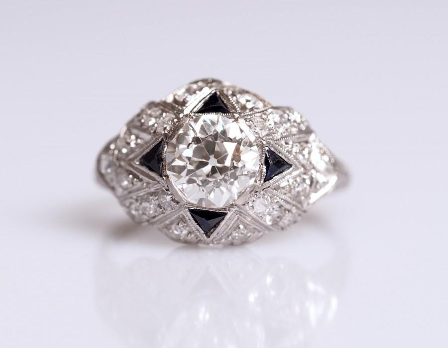 Mariage - Antique Art Deco Engagement Ring with a Large Old European Cut Diamond and Sapphires * 1.50cttw * VEG #102