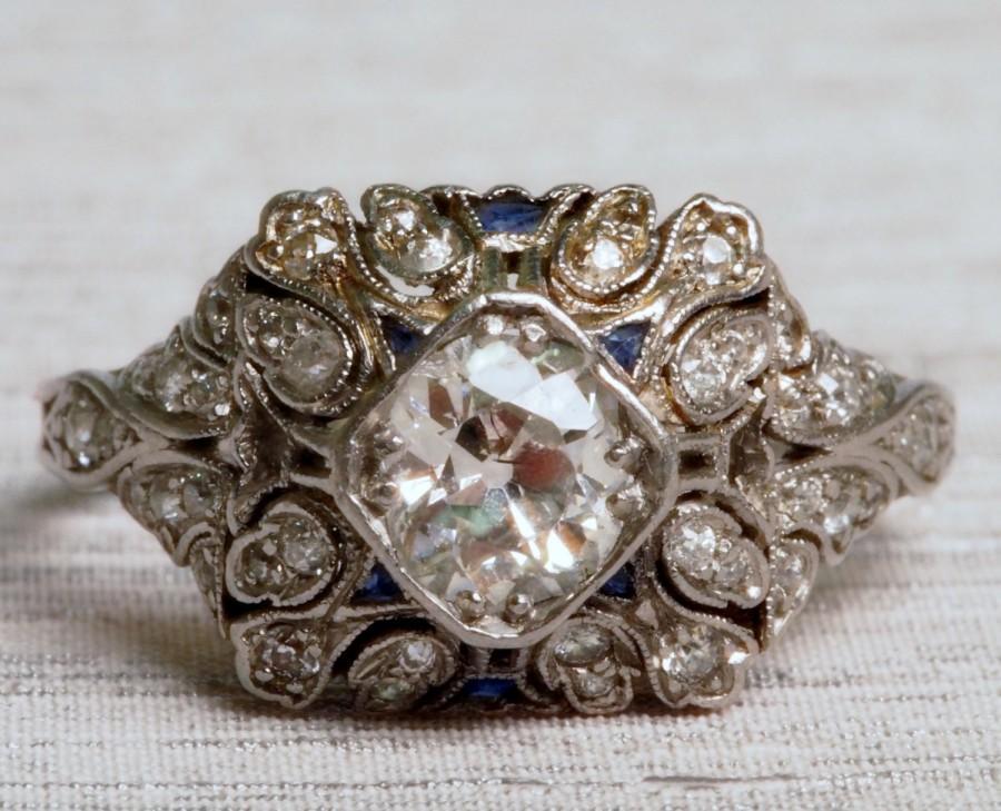 Wedding - Royal Platinum Art Deco Engagement Ring with Sapphires and Old European Cut Diamonds *.85cttw* VEG #111