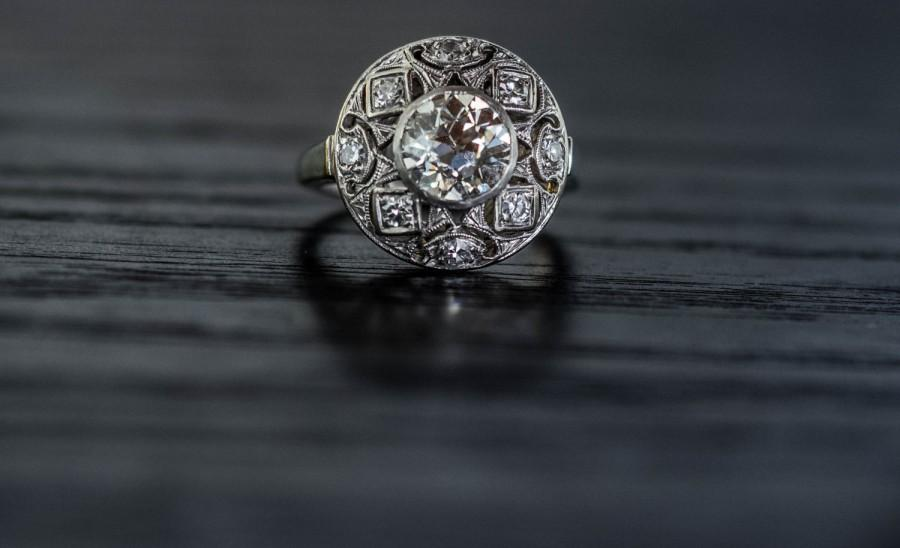 Wedding - Antique 1.51ct Old European Cut Diamond Engagement Ring Art Deco in 14K with Diamond Halo VEG #105