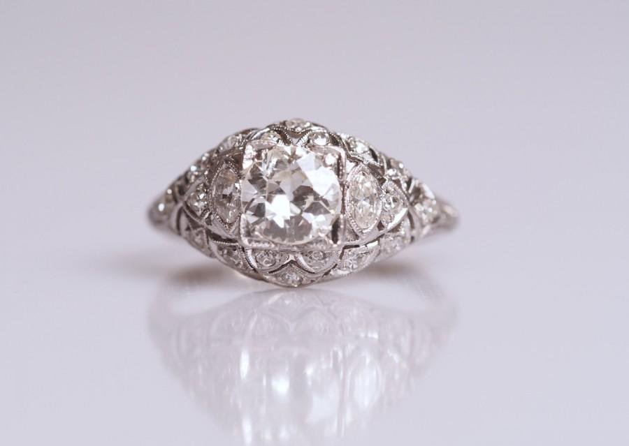 زفاف - Antique Art Deco European Cut Diamond Platinum Engagement Ring *1.10 cttw* circa 1910 VEG #97