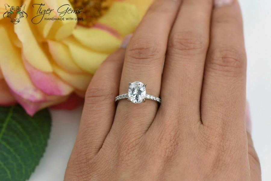 Attirant 2 Carat, Oval Solitaire Ring, Blake Engagement Ring, Half Eternity Band,  Bridal Wedding Ring, Man Made Diamond Simulants, Sterling Silver