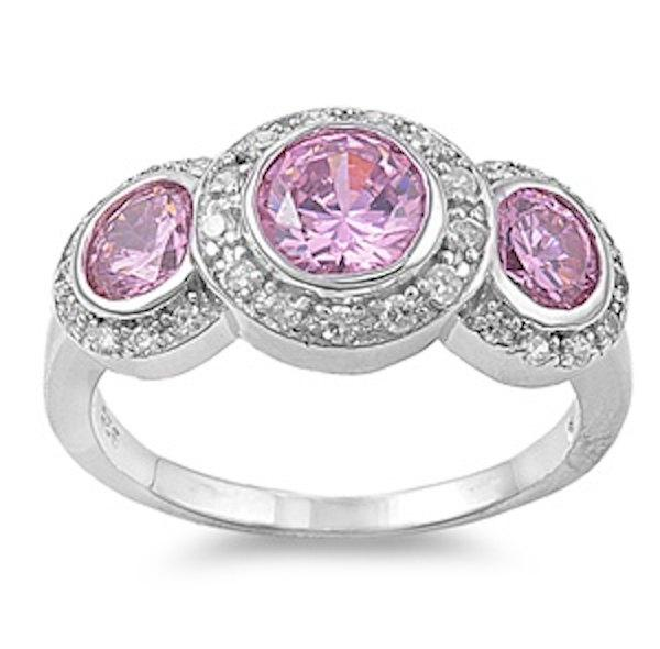 Mariage - Designer Look 925 Sterling Silver 3.00 Carat Round Rose Pink Russian Ice Diamond CZ Three Stone Engagement Halo Ring Gift for Bridesmaid