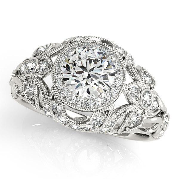 Hochzeit - Art Deco Engagement Ring,Victorian Engagement Ring,Engagement Ring in 14k White Gold, Unique Engagement Ring