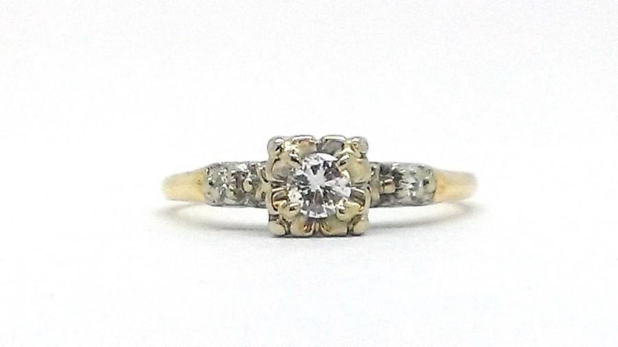 Mariage - 1940s 14k Illusion Head Diamond Engagement Ring .20 CTW