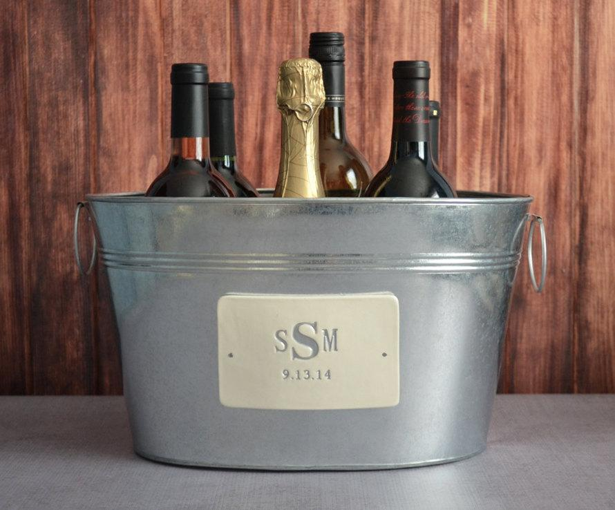 Personalized Wedding Gift Large Champagne Beverage Tub With Silver