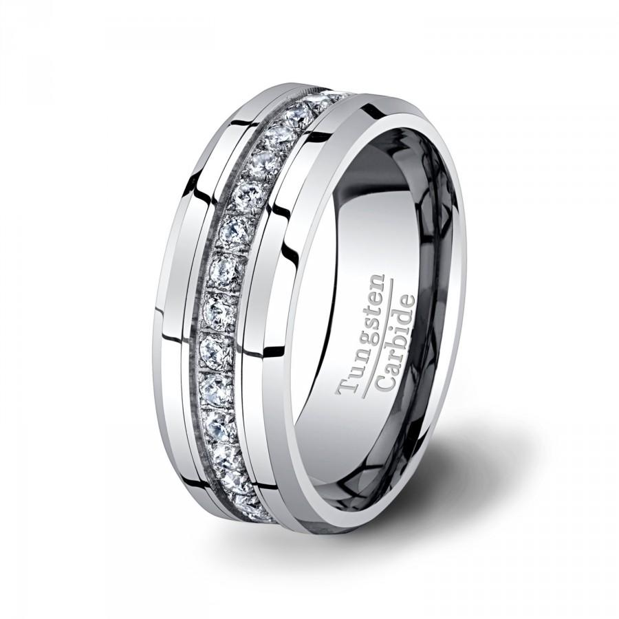 Mens Wedding Band High End Tungsten Ring Stacked CZ Diamonds 8mm Beveled Edge Polished Surface