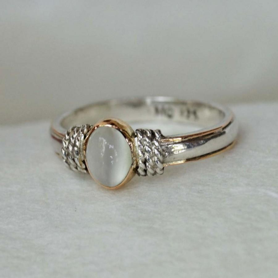 Bohamian engagement ring silver 925 gold 18k moonstone for Wedding rings silver and gold