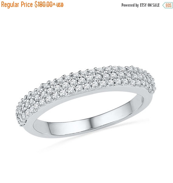 Свадьба - Holiday Sale 15% Off Triple Row Womens Diamond Wedding Band with 2/5 CT. T.W. in White Gold or Sterling Silver