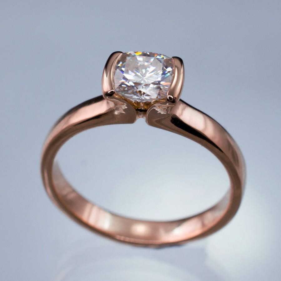 Свадьба - Modified Tension Channel Set Cushion Cut Moissanite Solitaire Engagement Ring in 14K Rose Gold - Alternative Engagement Ring, Recycled Metal