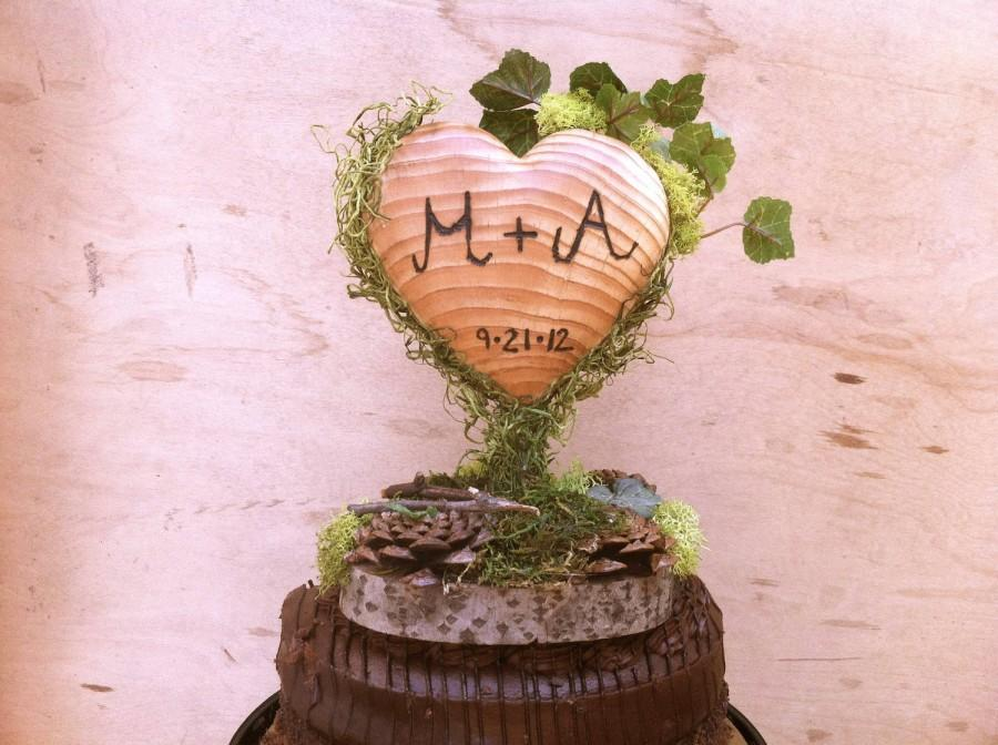 Mariage - Wooden Heart Wedding Cake Topper Green Moss Rustic Cake Decor Toppers