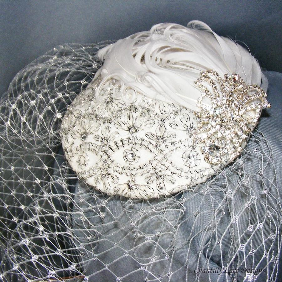 Mariage - Silver and White Vintage Inspired Cocktail Hat Silver Birdcage Veil