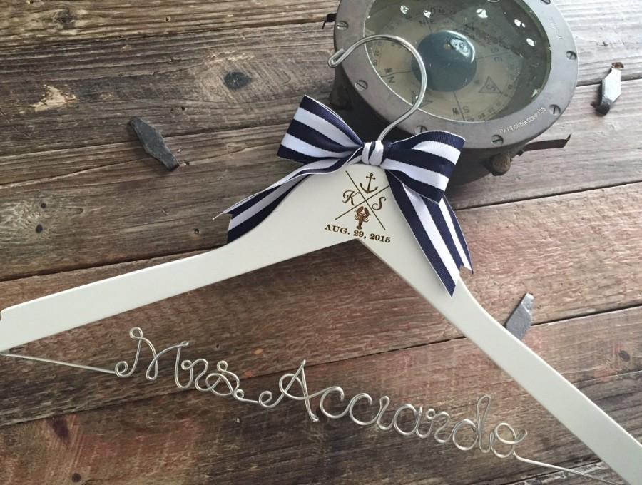 Nautical Wedding Hanger, Anchor Bridal Hanger, Beach Bride Hanger ...