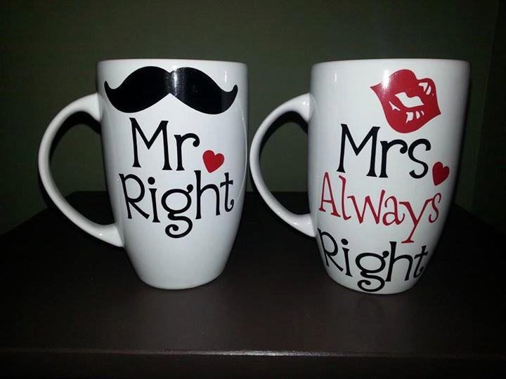 Свадьба - Mr Right & Mrs Always Right Coffee Mug Set, Mr and Mrs Mugs, Mr and Mrs Cups, Engagement Present; His and Hers, Bridal Shower Present; Gift