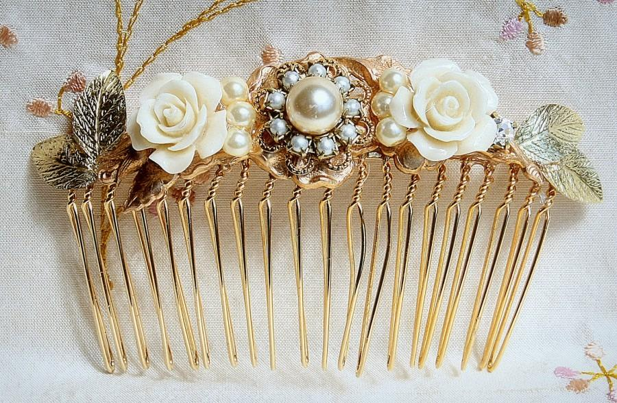 Свадьба - Bridal Hair Comb Wedding Hair Accessories Gold Wedding Hair Comb,Vintage Style Hair Piece Ivory Flowers Hair Piece Jewelry with Pearls Comb