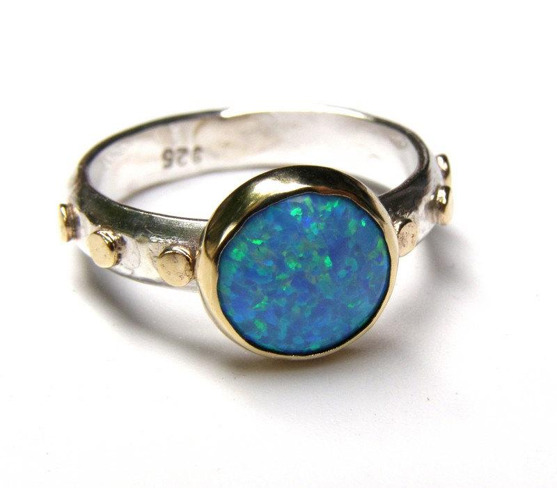 Свадьба - Blue Opal ring - 14k gold ring and silver ring Birthstone ring  gemstone Made to order