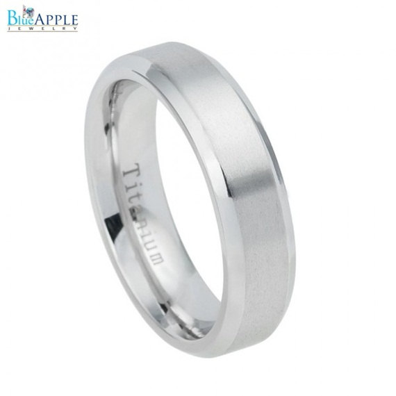 Mariage - 6mm White Titanium Ring Brushed Center Shiny Beveled Edge Men Women Wedding Engagement Anniversary Band White Titanium Ring Size 5-12