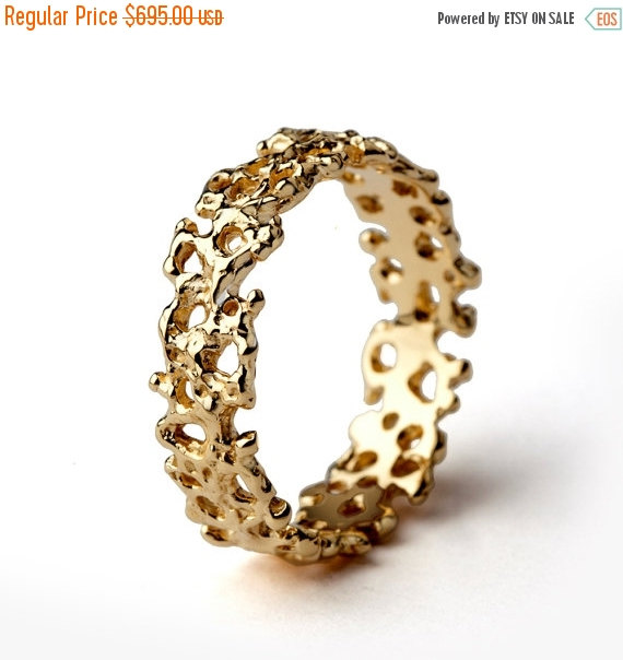 Christmas Sale Coral Unique Wedding Band Ring 18k Gold Wedding