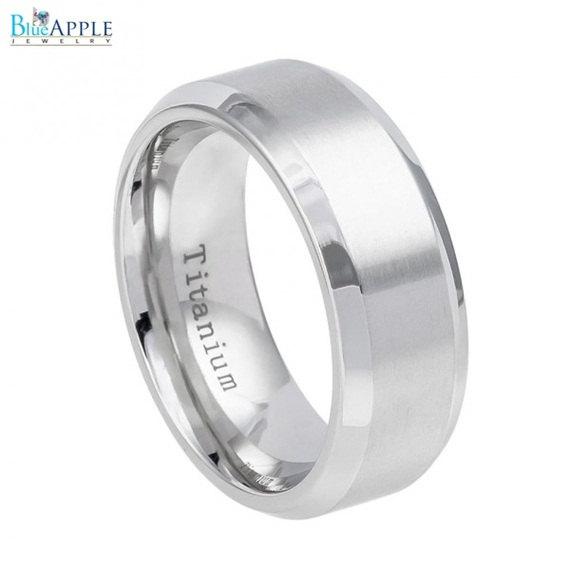 Свадьба - 8mm White Titanium Ring Brushed Center Shiny Beveled Edge Men Women Wedding Engagement Anniversary Band White Titanium Ring Size 6-13