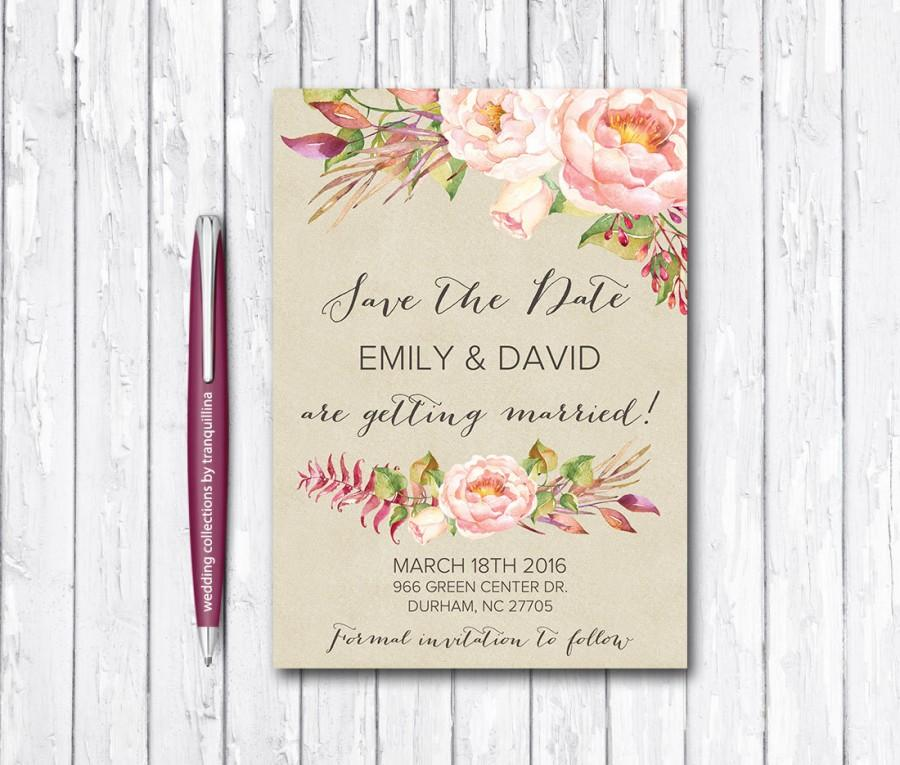 image about Printable Save the Date Cards titled Printable Preserve The Day Card, Boho Help save The Day, Floral