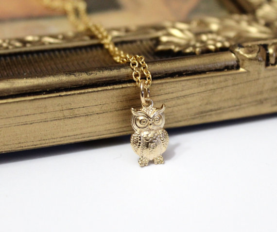 Wedding - Tiny owl necklace, Owl Necklace, Gold filled, Owl Necklace, Silver Owl Jewelry, Sterling Silver, Animal necklace, Birthday gift.