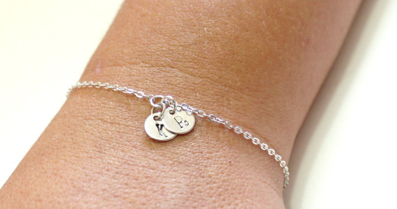 Wedding - Initial Disk Charm Bracelet, Bracelet, Statement, Personalized Bracelet Jewelry, Mom and Children, Family,Sister, Mother's Day GIFTS