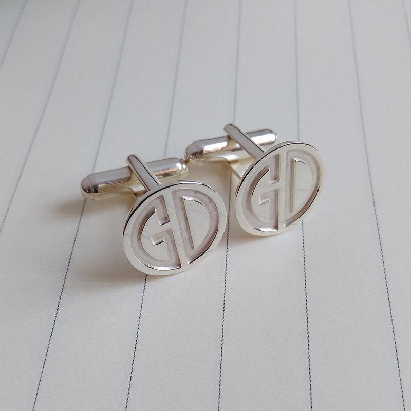 Two Letter Monogram Cufflinks Wedding Cufflinks Groom Cufflinks