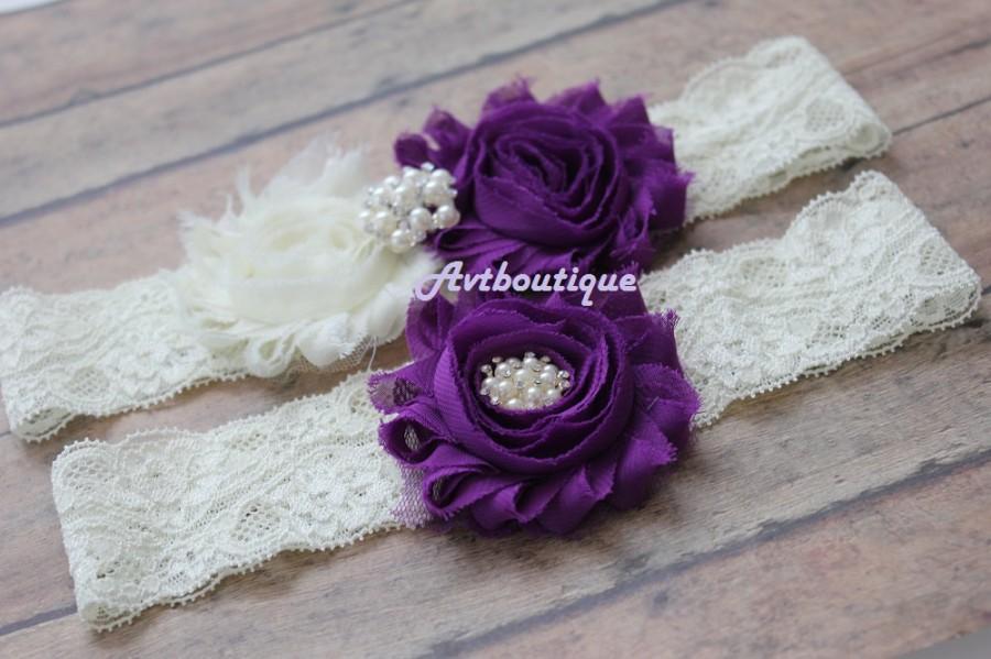 Hochzeit - purple wedding garter - purple garter - garter set - bridal garter - garter - garter - plus size garter - garter for bride - lace garter