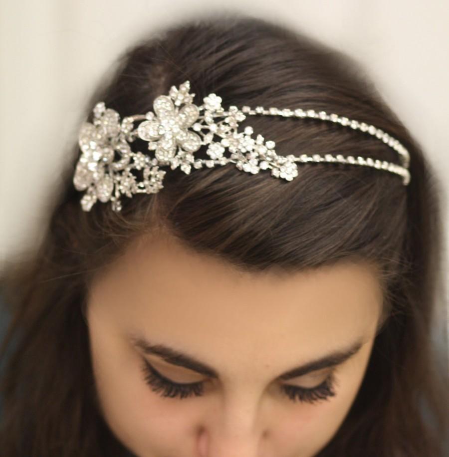 Bridal Headband Hair Accessories Wedding Head Band Swarovski Tiara Double Crystal