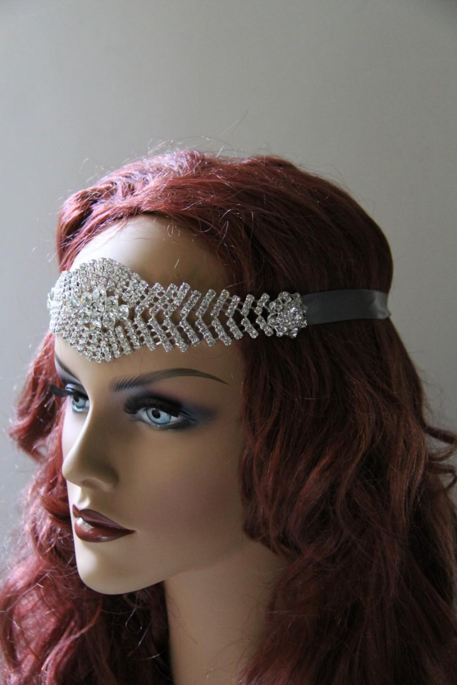 Mariage - Great Gatsby Headpiece Rhinestone Bridal Headpiece - 1920s Wedding