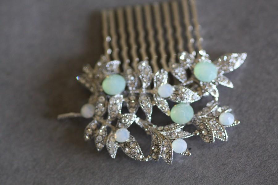 Mariage - Vintage Inspired Pearls bridal hair comb, CHRYSOLITE OPAL, wedding hair comb, bridal hair accessories, wedding hair accessories