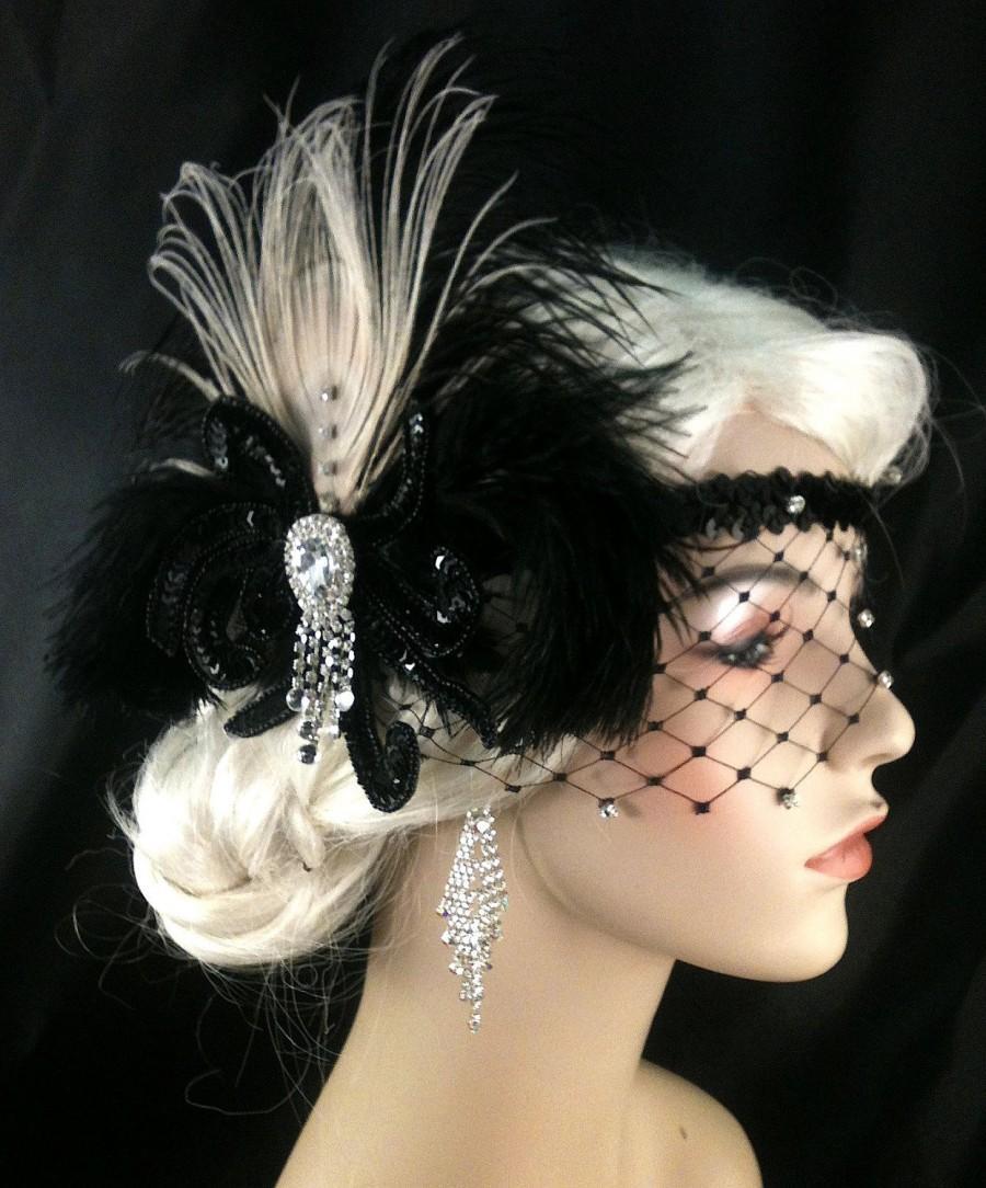Mariage - Gatsby Headband, Flapper Headband, Downton, Abbey, 1920s Head Piece, Art Deco Headband, Rhinestone Veil/Mask, Black Headband