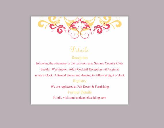 Wedding - DIY Wedding Details Card Template Editable Text Word File Download Printable Details Card Yellow Pink Details Card Elegant Enclosure Cards