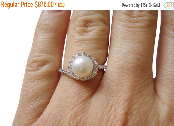Christmas SALE Pearl Engagement Ring June Birthstone Unique
