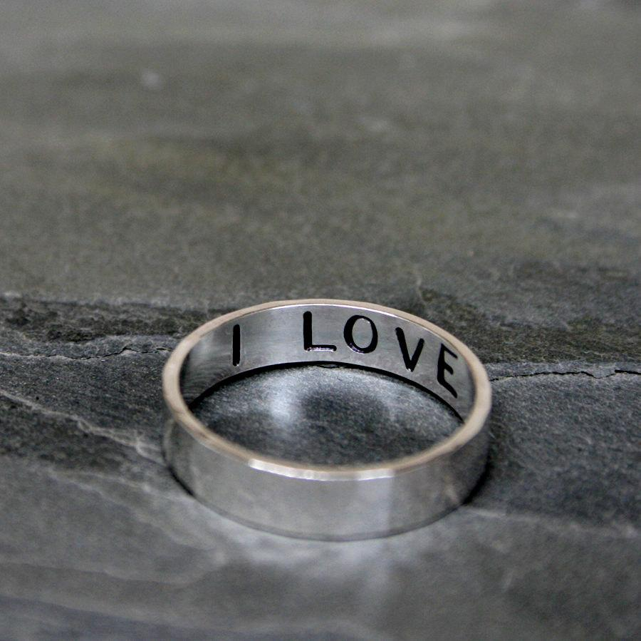 Hochzeit - I Love You Ring, Hand Stamped Sterling Silver, Stacking Band, One Ring, Words Inside, Secret Message Inscription Valentines Day