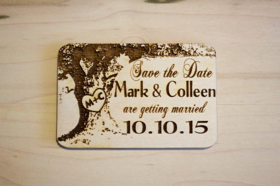 Wedding - 75 Oak Tree Carved Heart Wooden Save The Date Magnets Laser Engraved.