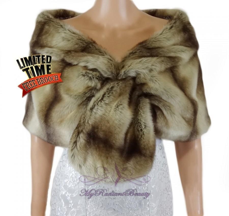 Bridal faux fur stole wedding fur wrap bridal fur shrug for Fur shrug for wedding dress