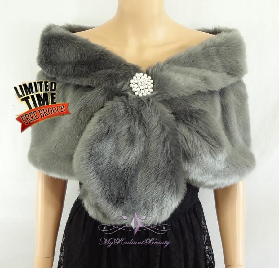 e1a07185d2 Faux Fur Wrap, Bridal Dark Gray Faux Fur Stole, Bridal Fur Wrap, Faux Fur  Shrug, faux Fur Stole, Bridal Wrap, Bridal Fur Stole FS108-GRAY
