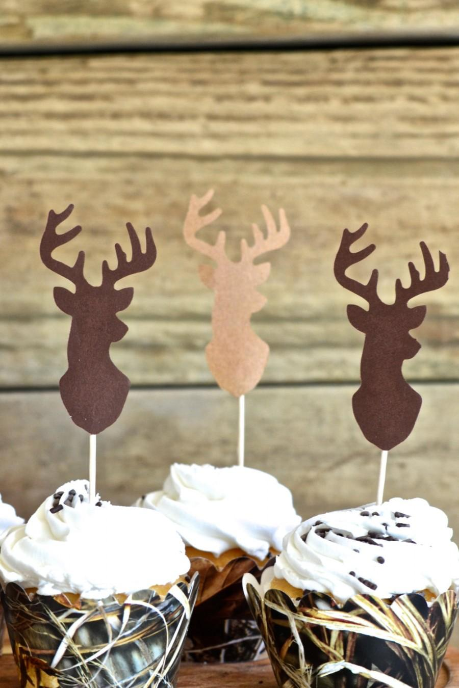 Свадьба - Deer Silhouette Cupcake Toppers - bucks in shades of brown