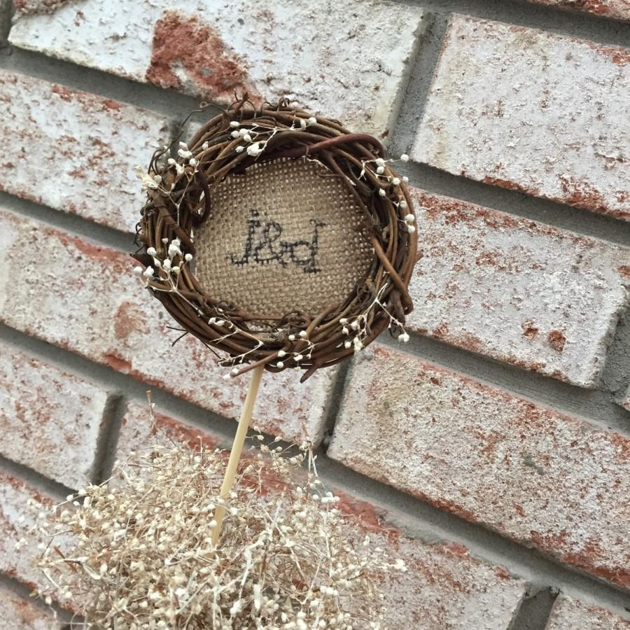 Mariage - Rustic Cake Topper - Wreath Cake Topper - Grapevine Cake Topper - Country Wedding Cake Topper - Outdoor Wedding - Personalized Cake Topper