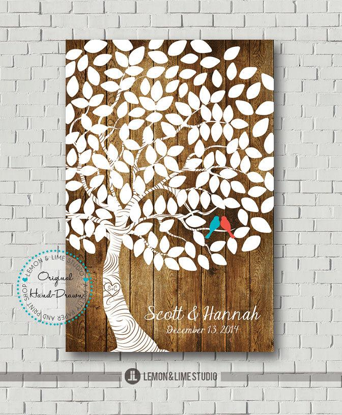 Mariage - Wedding Guest Book Print, Wedding Guest Books Alternative, Bridal Gift, Wedding Gift, Wedding Poster, Faux Wood Wedding Guest Signs In